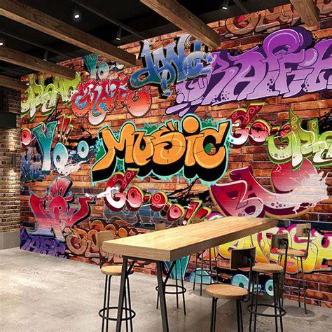 custom wall mural  embossed brick wallpaper graffiti art