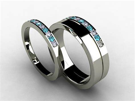 wedding band set titanium ring blue titanium