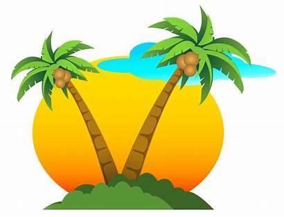 Clipart Summer Vector Beach Sun Coconut Transparent