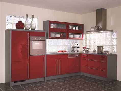 Grey Red Kitchen Cabinets Applying Electric Range Excerpt