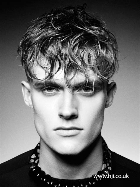 mens messy gelled fringe hairstyle hji