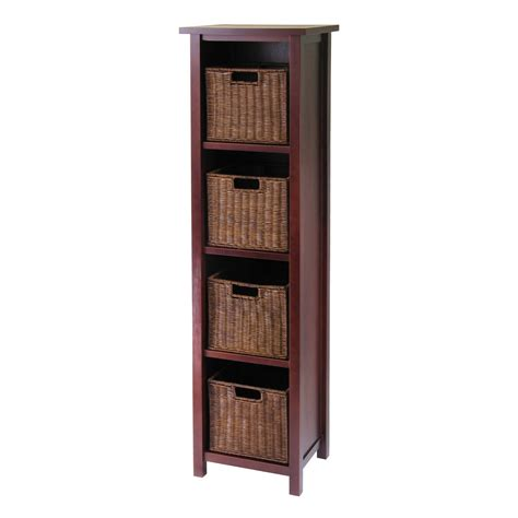 Basket Bookcase by Winsome Milan 5 Set 4 Shelf Wood Bookcase With 4