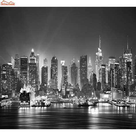 york city night skyline photo wallpaper black white