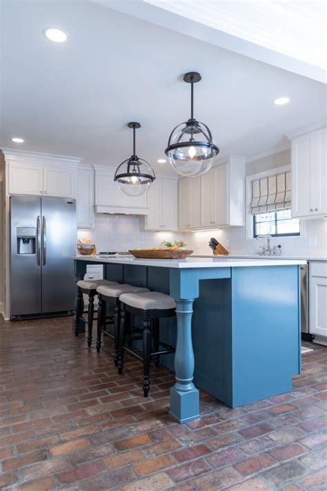 modern white kitchen  blue kitchen island hgtv