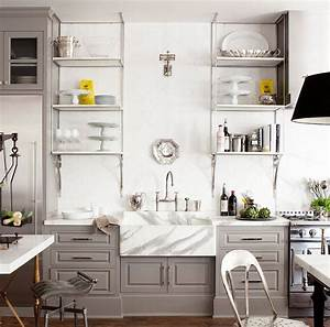 10 gorgeous takes on open shelving in kitchens With what kind of paint to use on kitchen cabinets for black metal wall art decor