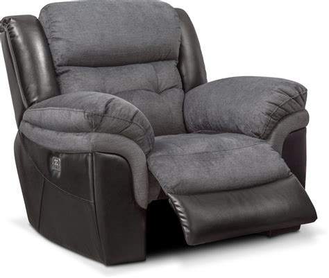 Recliner For by Tacoma Dual Power Recliner Black Value City Furniture