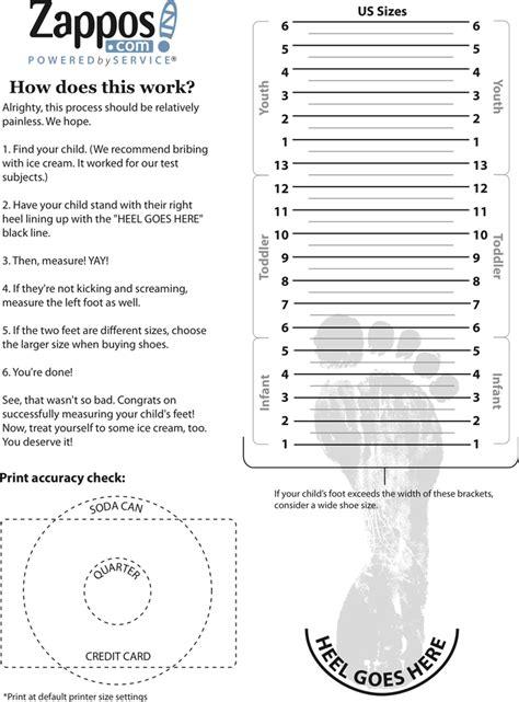 Child Shoe Size Chart Printable