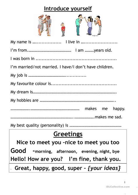 Introduce Myself Worksheet  Free Esl Printable Worksheets Made By Teachers