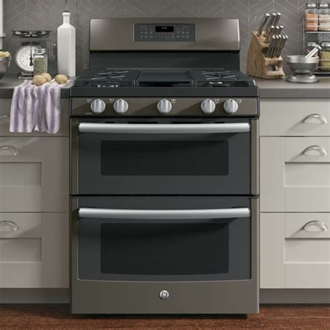 jgbeejes ge   standing gas double oven convection range slate
