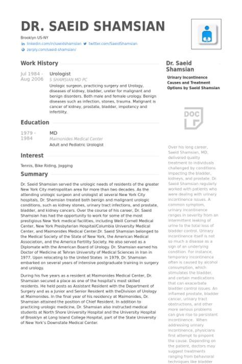 urologist resume sles visualcv resume sles database
