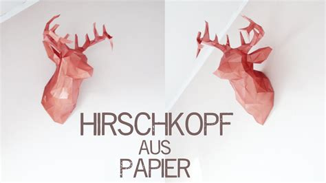 diy origami hirschkopf trophaee kekulo youtube