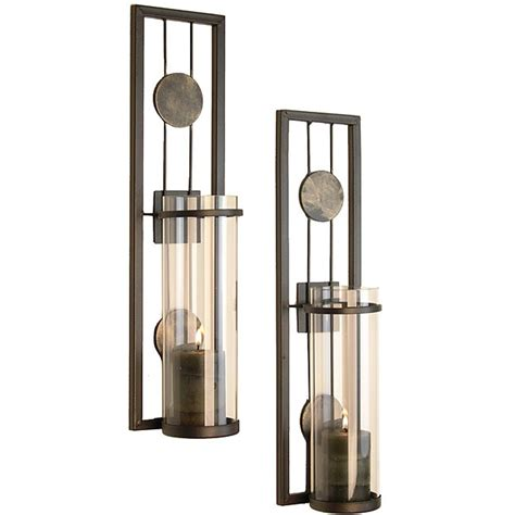 contemporary metal wall sconce set