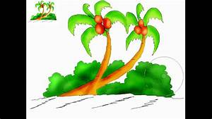 Kids art - How to draw a coconut tree - YouTube
