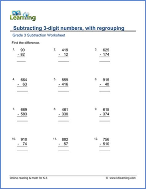3rd grade math worksheet 3 digit subtraction grade 3 subtraction worksheet subtracting 3 digit numbers