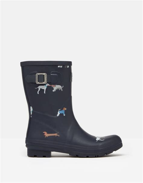 joules molly mid height printed wellies mayday dogs griggs
