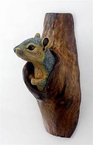 Squirrel Wood Carving Hand Carved by Mike Berlin, Wall