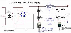 Dc Dual Power Supply Circuit Diagram 12v 15v  9v Regulated