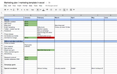 marketing plan marketing template  excel business