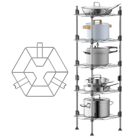 homeries pot rack organizer  tier pot lid holders pan rack  kitchen counter cabinet