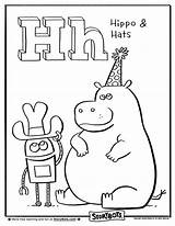 Coloring Alphabet Sheets Letter Bots Hippo Hat Activities Storybots Activity Letters Colouring Sheet Preschool Jungle Huge Week Crafts Abc Hello sketch template