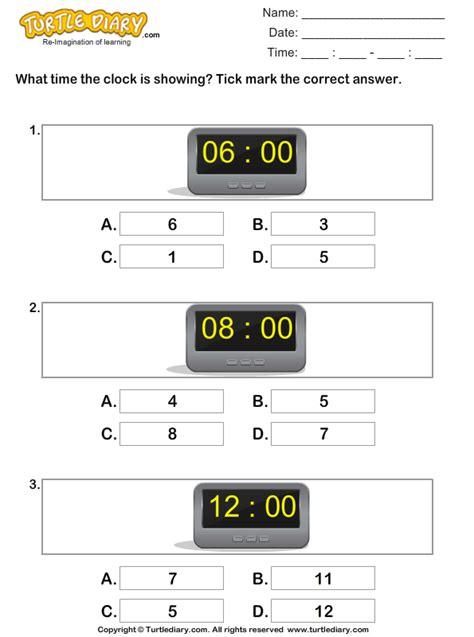 reading time  digital clocks worksheet turtle diary