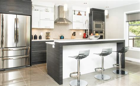 cuisine blanche contemporaine cuisine contemporaine vol de nuit armoires de cuisines