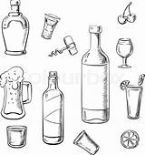 Wine Alcohol Bottles Drinks Sketch Whiskey Cocktails Bottle Beer Colouring Drink Vector Illustration Coloring Liquor Template Sketches Paintingvalley sketch template