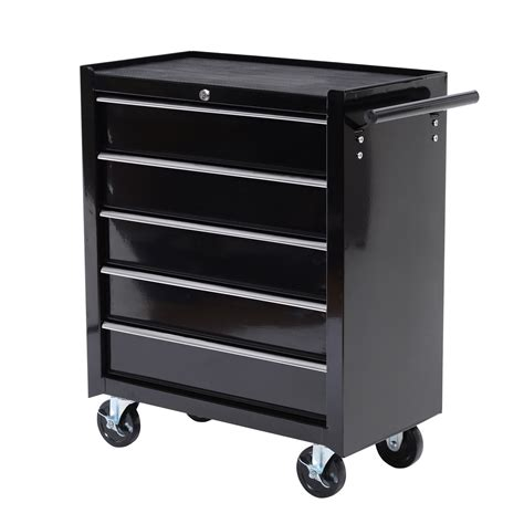 Homcom Rolling Tool Cabinet Chest With 5 Drawers Black