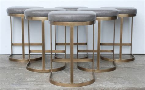 Italian Bar Stool by Milo Baughman Burnished Brass Bar Stools In Grey Leather