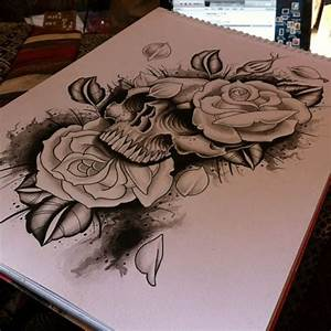 Woodfarm . | Skull + roses #tattoo #tattoos #tattooflash...