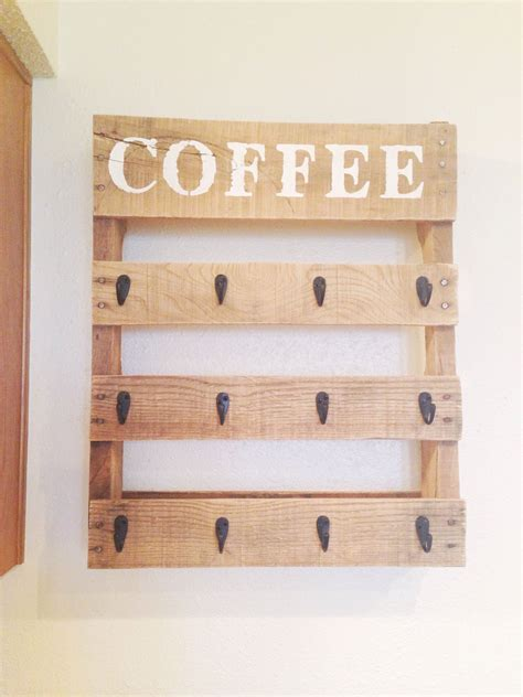 Use three pieces of them with a hook to hang the mug up. DIY Pallet Coffee Cup Holder | Coffee cup holder, Coffee mug holder, Pallet shelves