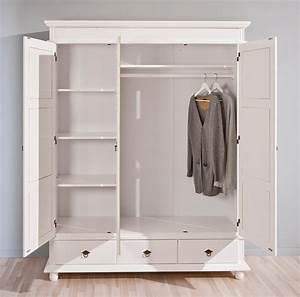 Kleiderschrank Weiß 200 Cm : kleiderschrank danz 3 schrank mit 3 t ren kiefer wei lackiert ~ Bigdaddyawards.com Haus und Dekorationen