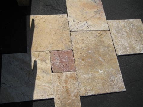 scabos brushed travertine tile chiseled edge versailles
