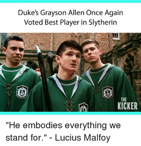 Grayson Allen Memes - duke s grayson allen once again voted best player in slytherin the kicker he embodies everything