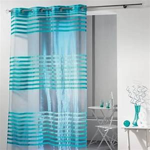 Voilage Bleu Turquoise : voilage 140 x h240 cm organza fresh turquoise voilage eminza ~ Teatrodelosmanantiales.com Idées de Décoration