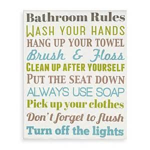 bathroom rules wall art bed bath beyond