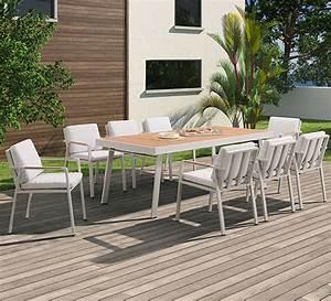 Table De Jardin 4 Personnes : salon de jardin beige aluminium et teck nofi 8 personnes 1199 salo ~ Teatrodelosmanantiales.com Idées de Décoration