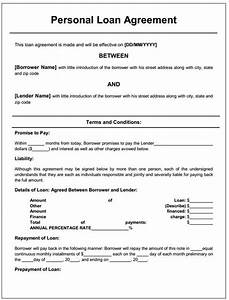 personal loan agreement printable agreements private With personal loan document free