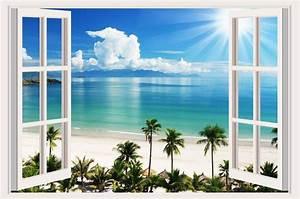 20 best 3d wall art window for Beautiful beach decals for walls
