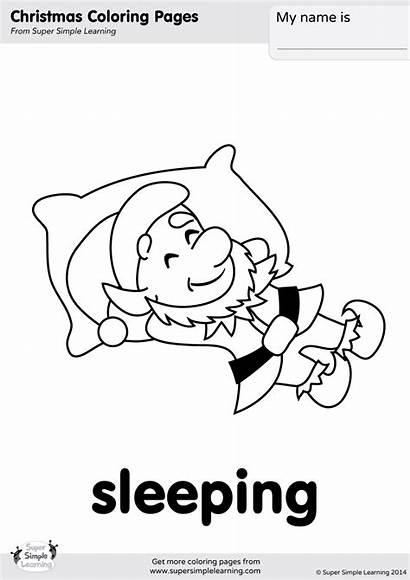 Coloring Sleeping Elves Pages Worksheets Verbs Christmas
