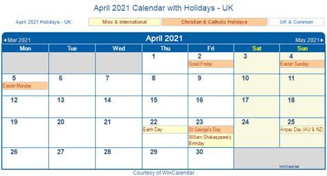 print friendly april  uk calendar  printing