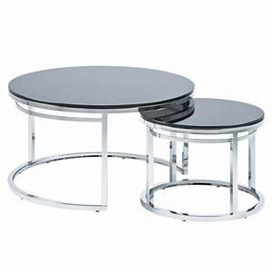 new black glass chrome isola nesting coffee table set ebay With glass and chrome coffee table sets