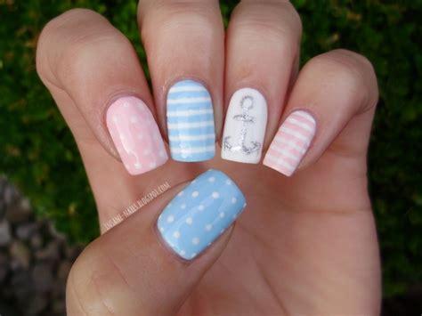 Pastel Nautical Nails Nail Art By Sanela