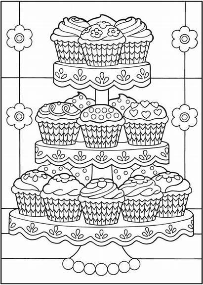 Cupcakes Coloring Cupcake Kleurplaten Mandala Dover Herzlich