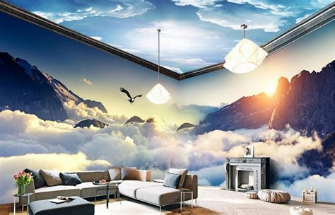 custom dream clouds  mountains  wallpaper living room