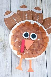 Kid Card Maker Paper Plate Turkey With Foamie Football Feathers Darice