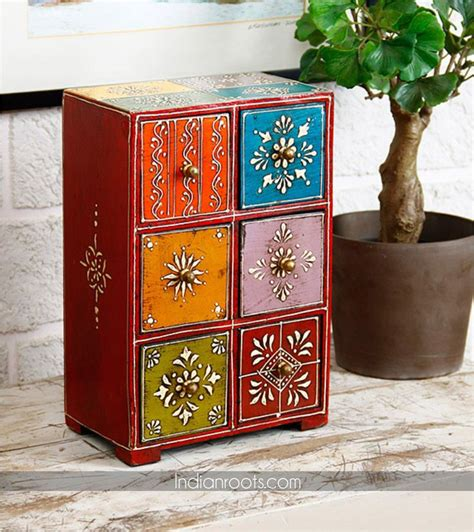 rajasthani hand painted wooden jewellery cabinet