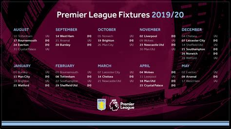 Premier league fixtures including match schedule details such as dates, kick off times and access to match previews, stats and tips from the sportsman. Villa Premier League fixtures Aston Villa Football Club ...