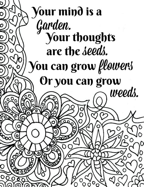 coloring pages with quotes free printable flower quote coloring pages