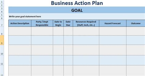 3+ Free Project Action Plan Template Xls